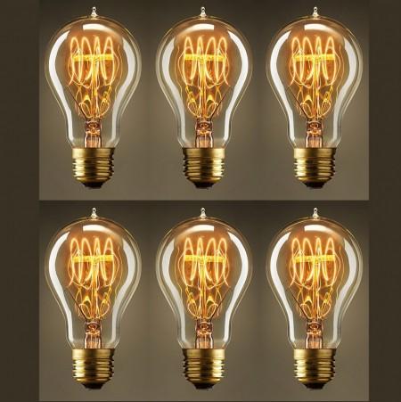 Pachet 6 Becuri Edison Vintage cu lumină caldă, Filament în buclă (Quad Loop), incandescent, 40W, E27
