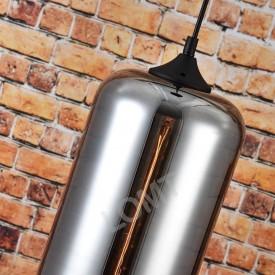 Corp de iluminat Pendul, Retro Vintage, Sticla fumurie cu forma de cilindru, E27, VINTAGE 229-A