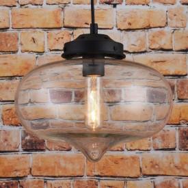 Corp de iluminat Pendul, Retro Vintage, Sticla Transparenta, Baza Metalica Neagra, E27 - VINTAGE 226