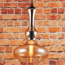 Corp de iluminat Pendul, Retro Vintage, Sticla Transparenta Chihlimbar - VINTAGE 239