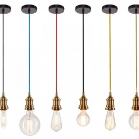 Corp de iluminat Pendul, Retro Vintage, Textil Alb - Negru, Baza Metalica Alama, E27 - VINTAGE ALB/NEGRU 208-D