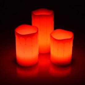 Set 3 Lumânări LED Ambientale cu baterii, Colorchanger, Timer și Telecomandă, Ceară Adevărată