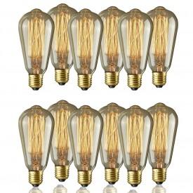 Pachet 12 Becuri Edison Vintage cu lumină caldă, Squirrel cage, incandescent, 40W, E27