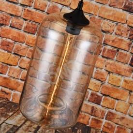 Corp de iluminat Pendul, Retro Vintage, Sticla Transparenta Chihlimbar cu forma de cilindru, E27 - VINTAGE 229-C