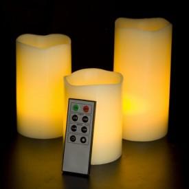 Set 3 Lumânări LED Ambientale cu baterii, Timer și Telecomandă