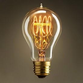 Bec Edison Vintage cu lumină caldă,, filament în buclă (Quad Loop), 40W, E27