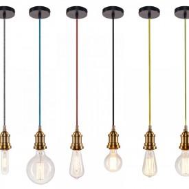 Corp de iluminat Pendul, Retro Vintage, Textil Rosu, Baza Metalica Alama, E27 - VINTAGE ROSU 208-C