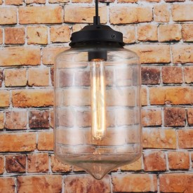 Corp de iluminat Pendul, Retro Vintage, Sticla Transparenta Groasa, Baza Metalica Neagra, E27 - VINTAGE 227