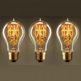 Pachet 3 Becuri Edison Vintage cu lumină caldă, Filament în buclă (Quad Loop), incandescent, 40W, E27
