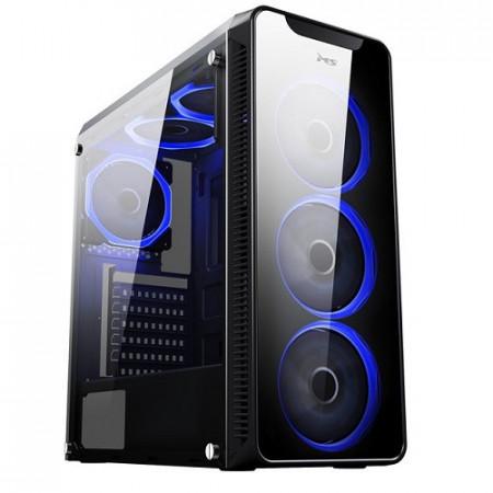 Slika Kućište MS AQUARIUS PRO, 3x single ring RGB ventilator 12cm, 1x single ring RGB ventilator 12cm, 2 x USB 3.0, bez napajanja