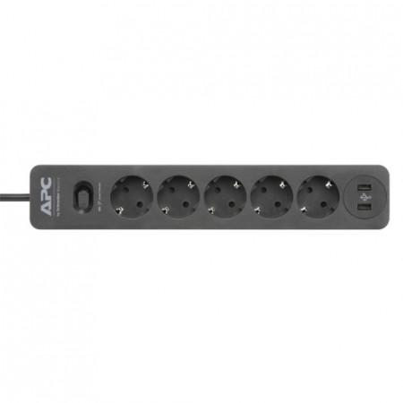 SURGE ARREST APC PME5U2B-GR, 5 uticnica, 2XUSB 2.4A, duzina kabla 1.52m