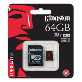 Slika Memorijska kartica 64GB Kingston SDCA3/64GB, 4K2K videos, class 10, 90 / 80 MB/s, UHS-I Speed Class 3 (U3) , microSDHC/SDXC