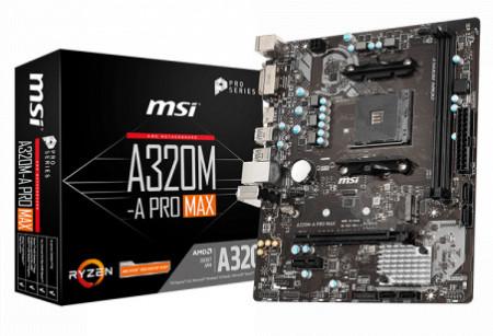 Slika MB MSI A320M-A PRO MAX, AMD A320, NVMe, 2 x DIMM, AM4