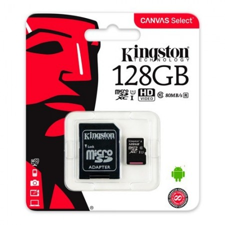 Slika Micro SD 128GB KINGSTON Canvas Select SDCS/128GB, sa adapterom, UHS-I, class 10, 80MB/s read