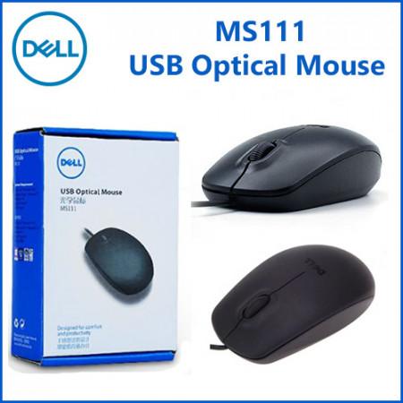 Miš DELL MS111, optical, USB, black (za laptop - kabl 80cm)