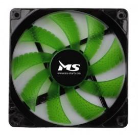 Slika Ventilator za kućište MS PC COOL LED Green, 12cm, 1000 rpm, MOLEX + 3 pin
