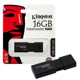 Slika USB Flash Drive 16GB KINGSTON DataTraveler DT100G3/16GB, USB 3.0, Sliding USB connector, Plastic, Black