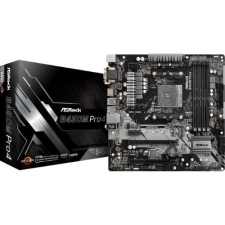 Slika MB ASROCK B450M PRO4, AMD B450, 4 x DDR4, AM4