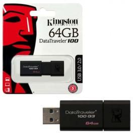 USB Flash Drive 64GB KINGSTON DataTraveler DT100G3/64GB, USB 3.0, Sliding USB connector, Plastic, Black