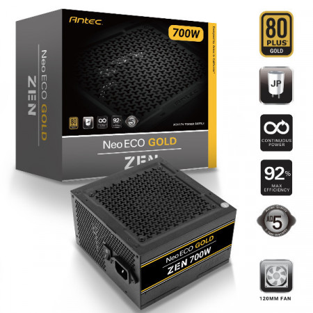 Slika Napajanje 700W ANTEC NE700G ZEN, NEO ECO GOLD, 80+ Gold, 12cm silent fan, Active PFC, up to 92% efficient