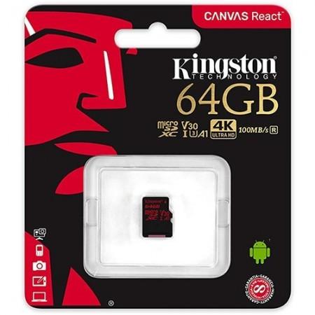 Slika Micro SD 64GB KINGSTON Canvas React SDCR/64GB, sa adapterom, UHS-I, U3, class 10, 100MB/s read, 80MB/s write