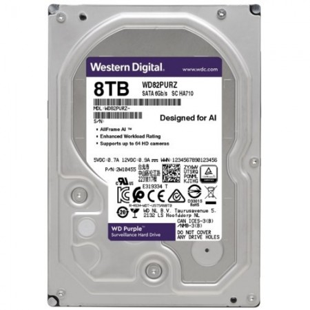 Slika HDD 8TB WESTERN DIGITAL Purple, WD82PURZ, 256MB, 5400rpm,za video nadzor, SATA 3