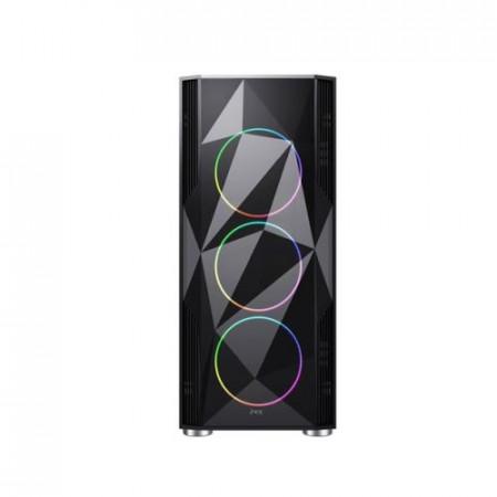 Kućište MS PRISM BLACK gaming, bez napajanja, 4 x12cm RGB