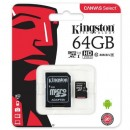 Micro SD 64GB KINGSTON Canvas Select SDCS/64GB, sa adapterom, UHS-I, class 10, 80MB/s read