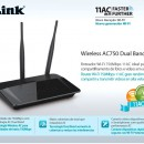 Wireless Router D-LINK DIR-809, dual band Ac750, tri antene 2 x 5 dBi