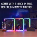AeroCool Edge 14 Pro, 14CM ARGB FANS x 3 | H66F HUB x 1 | REMOTE CONTROL x 1