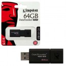 USB Flash Drive 64GB KINGSTON DataTraveler DT100G3/64GB, USB 3.0, Sliding USB connector, Plastic, Black