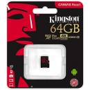 Micro SD 64GB KINGSTON Canvas React SDCR/64GB, sa adapterom, UHS-I, U3, class 10, 100MB/s read, 80MB/s write