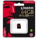 Micro SD 64GB KINGSTON Canvas React SDCR/64GB, sa adapterom, UHS-I, U3, class 10, 100MB/s read, 80MB/s write