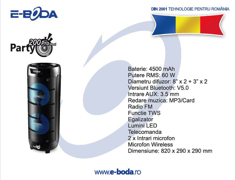 Boxa portabila E-Boda, party 200 Pro Maxi Bluetooth USB, MP3, Radio FM
