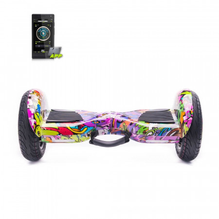 Scooter electric (Hoverboard) FREEWHEEL Monster S2 SMART - Graffiti Mov - Produs resigilat