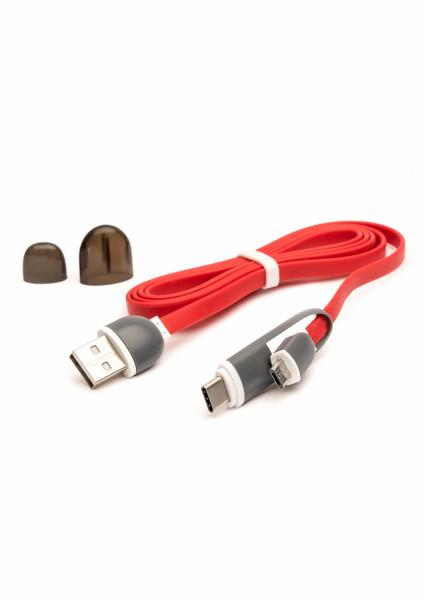 Cablu USB cu MicroUSB si Adaptor Type-C E-Boda CML QC 301 - Rosu