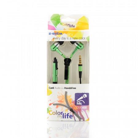 Casti handsfree E-Boda tip fermoar CML 400 verde