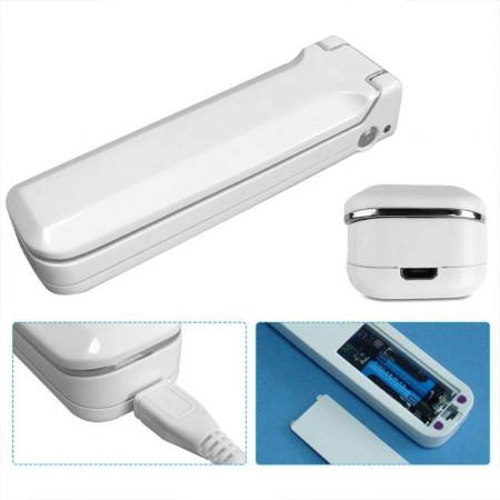Sterilizator portabil UVC-100, Lampa UV-C, Putere 3W, Baterii 4xAAA, USB, Alb