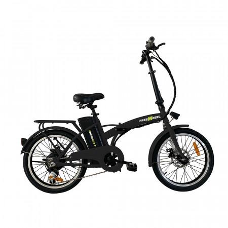 "Bicicleta electrica FreeWheel E-Bike City, Pliabila, Roti 20"", Frana disc fata/spate, Motor 250W, Autonomie pana la 35Km, Viteza maxima 25Km/h, Negru."