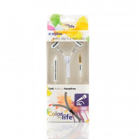 Casti handsfree E-Boda tip fermoar CML 400 alb - Produs Resigilat