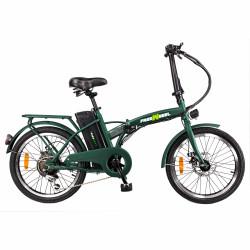 "Bicicleta electrica FreeWheel E-bike City, Pliabila, Roti 20"", Frana disc fata/spate, Motor 250W, Autonomie pana la 35Km, Viteza maxima 25Km/h, Verde"