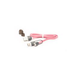 Cablu USB cu MicroUSB si Adaptor Type-C E-Boda CML QC301 - Roz