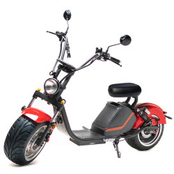 Moped Electric FreeWheel MotoRo M1, Omologat RAR, Autonomie 60 Km, 45 Km/h, Motor 1500 W, Negru/Rosu