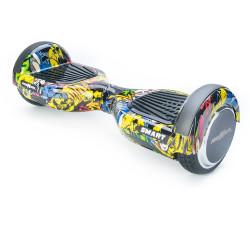 Scooter Electric (Hoverboard) Freewheel SMART - Autonomie 20 Km 16 Km/h Motor 2 x 350W Graffiti Galben - Produs Resigilat