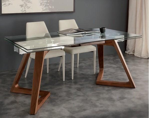 Tavolo rettangolare piano vetro allungabile gaud di la - Tavolo rettangolare allungabile ...