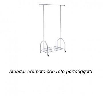 STENDER CROMATO CON RETE PORTAOGGETTI immagini