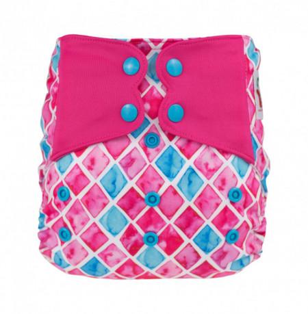 Kék és rózsaszín ElfDiaper pelenka (széles nyílású zsebbel + hasi szivárgásgátlóval)