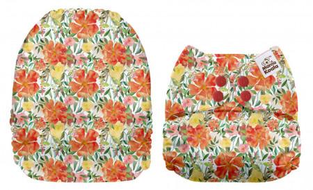 Narancssárga virágok MamaKoala pelenka (széles nyílású zsebbel)