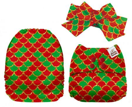 Karácsonyi sellő MamaKoala pelenka (széles nyílású zsebbel + szalaggal)