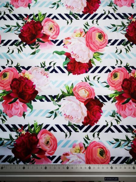 Virágok PUL anyag modern mosható pelenka készítéséhez